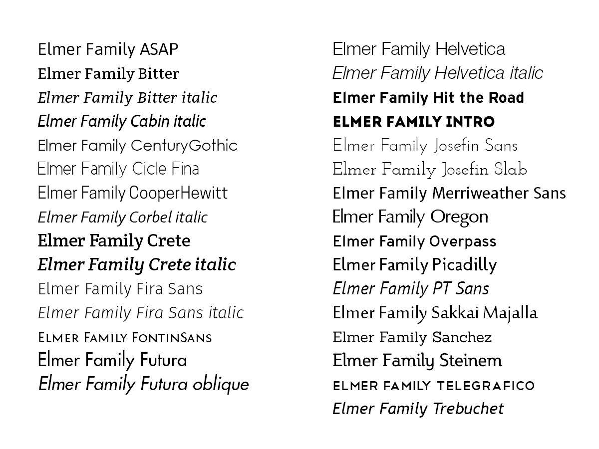 Typefaces for the Elmer family nameplate
