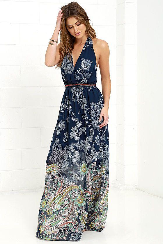 Blue paisley print maxi dress