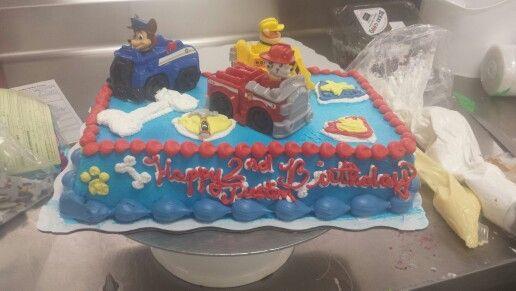 Whipped icing paw pawpatrol cake Lizzys cake Pinterest Cake