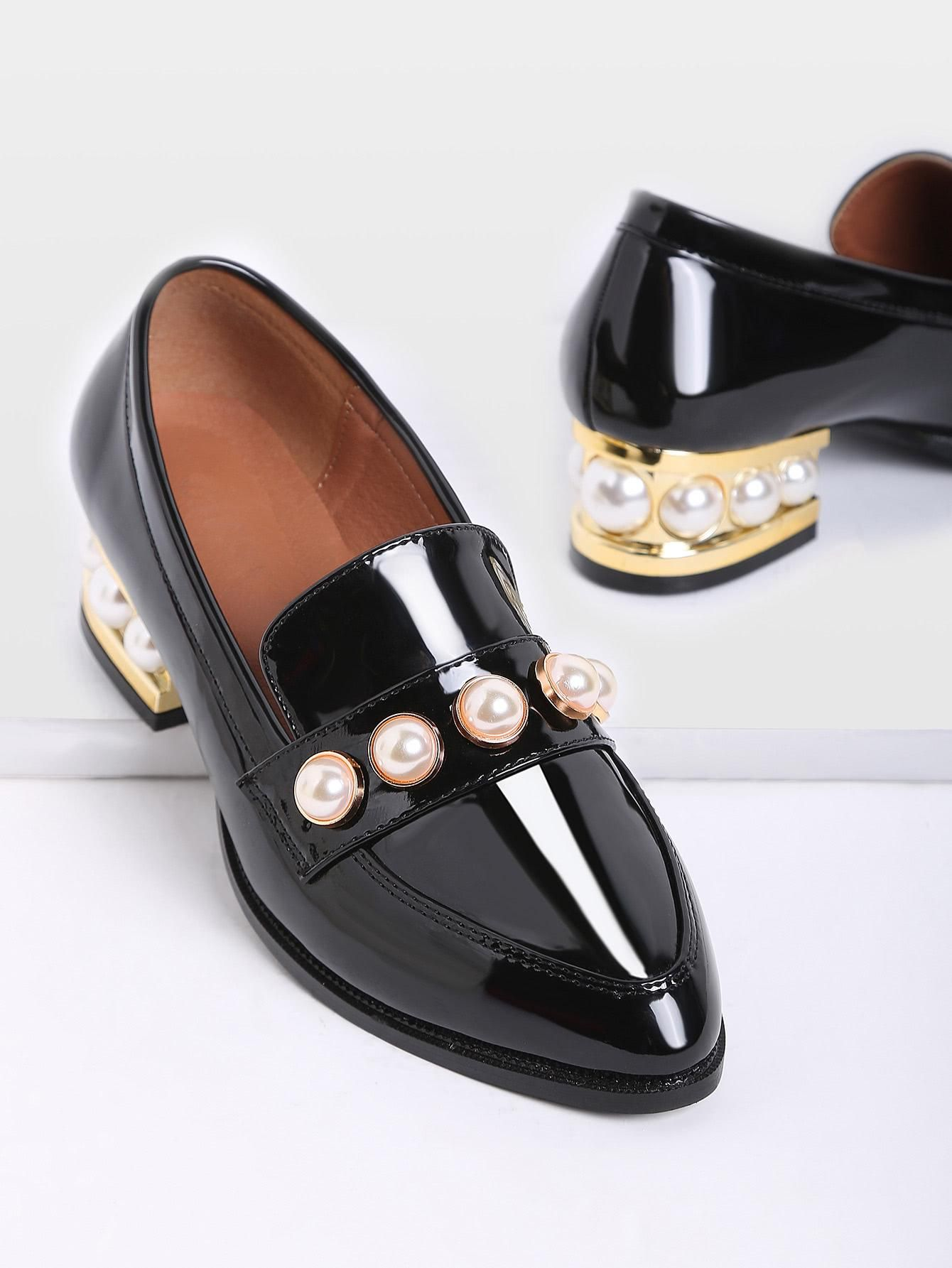 a9021abeaf SheIn - SheIn Black Pearl Detail Chunky Heeled Patent Leather Loafers -  AdoreWe.com