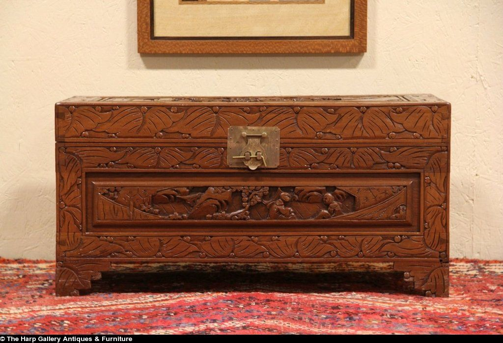 Chinese carved camphorwood vintage chest or trunk
