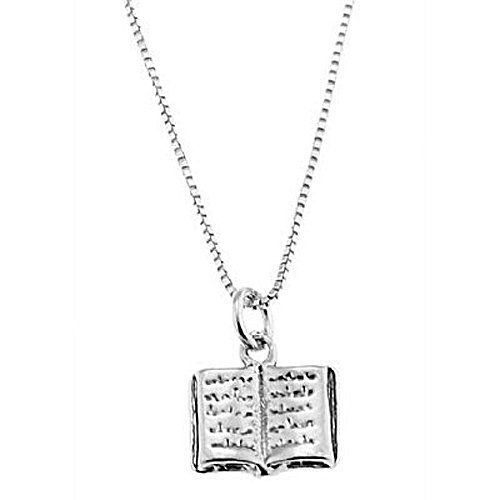 Sterling Silver One Sided Open Text Book Necklace Lgu. $23
