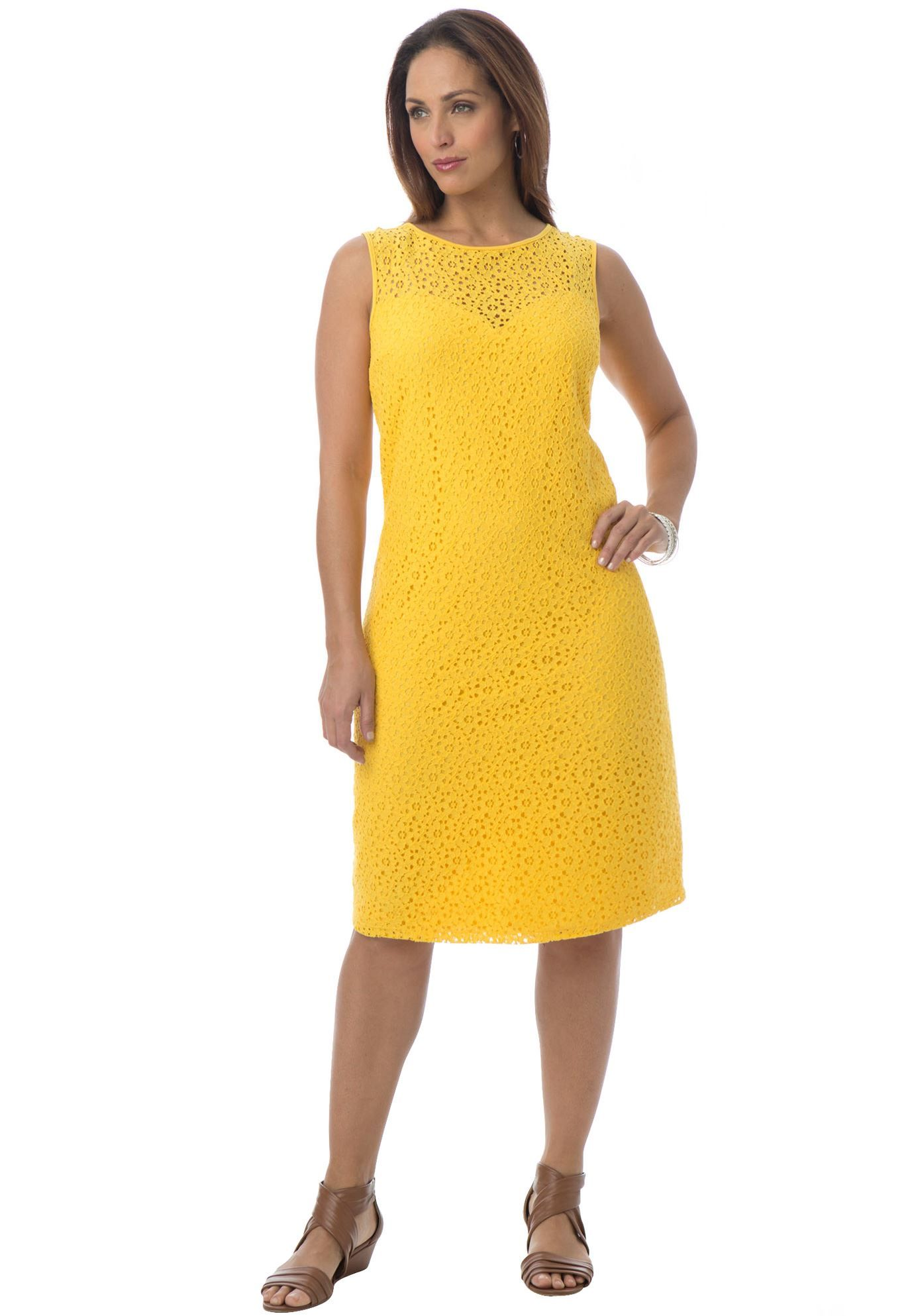 lovely sleeveless plus size lace dress in a sophisticated sheath