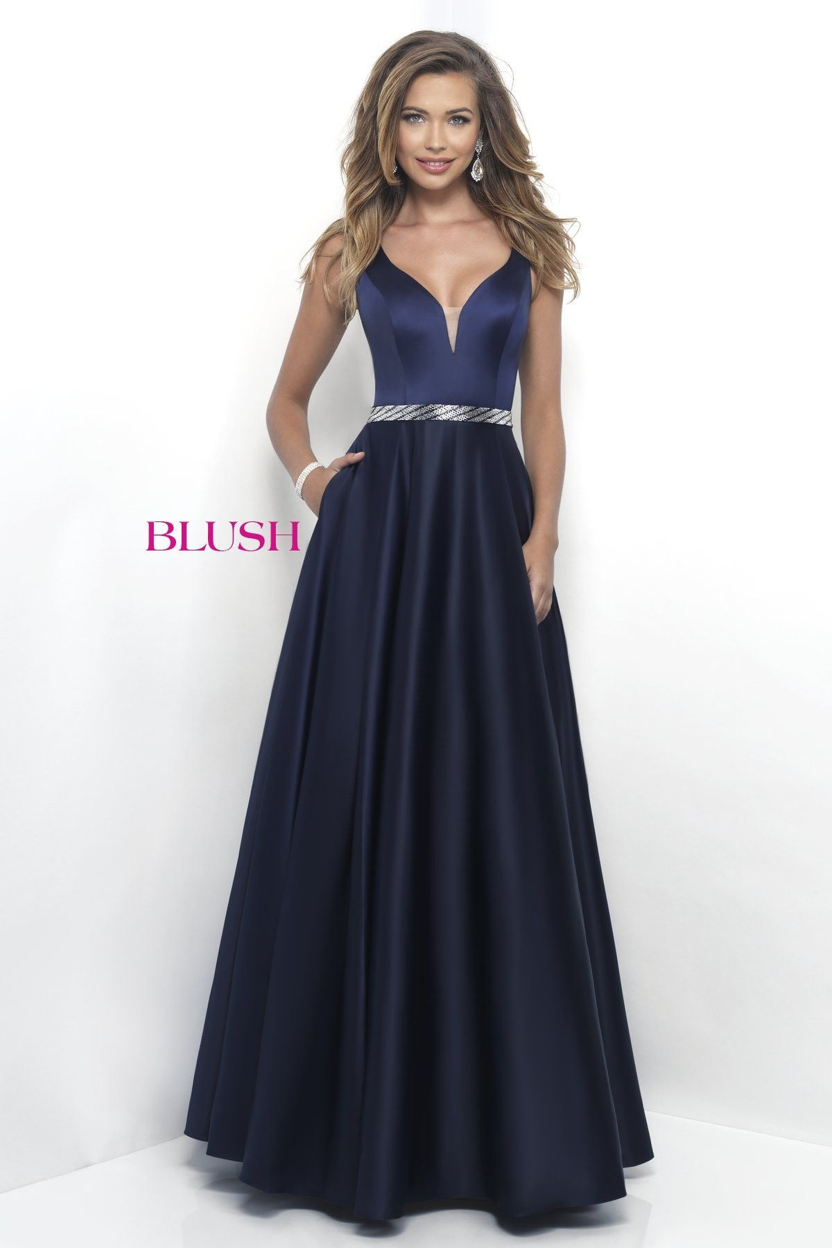 Blush prom navy vneck prom dress ball pinterest