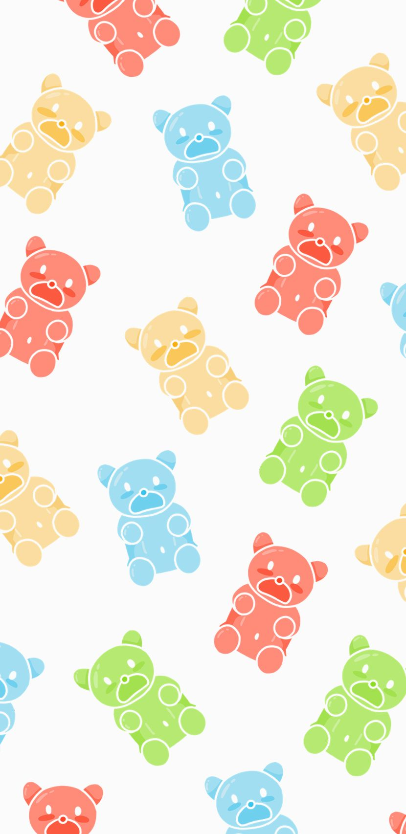 Gummy Bears Candies Sweets Pastel Colors Wallpaper