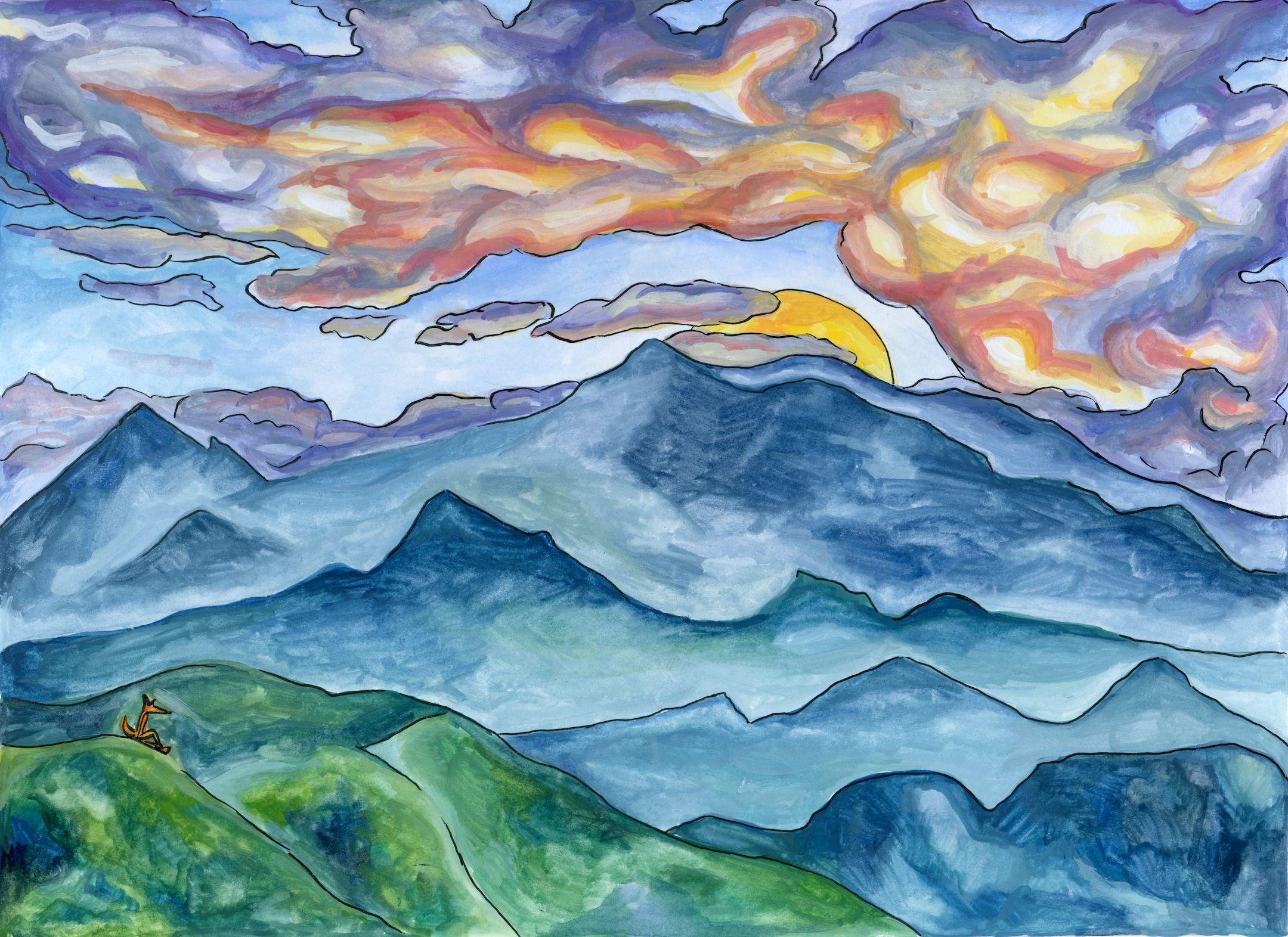 Art, Illustration, Sunset, The Adventure, Children's Book Illustration