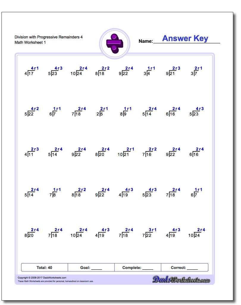 Division Worksheets With Progressive Remainders Math Worksheets Worksheets Division Worksheets