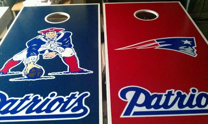 s New England Patriots cornhole board or vehicle decal