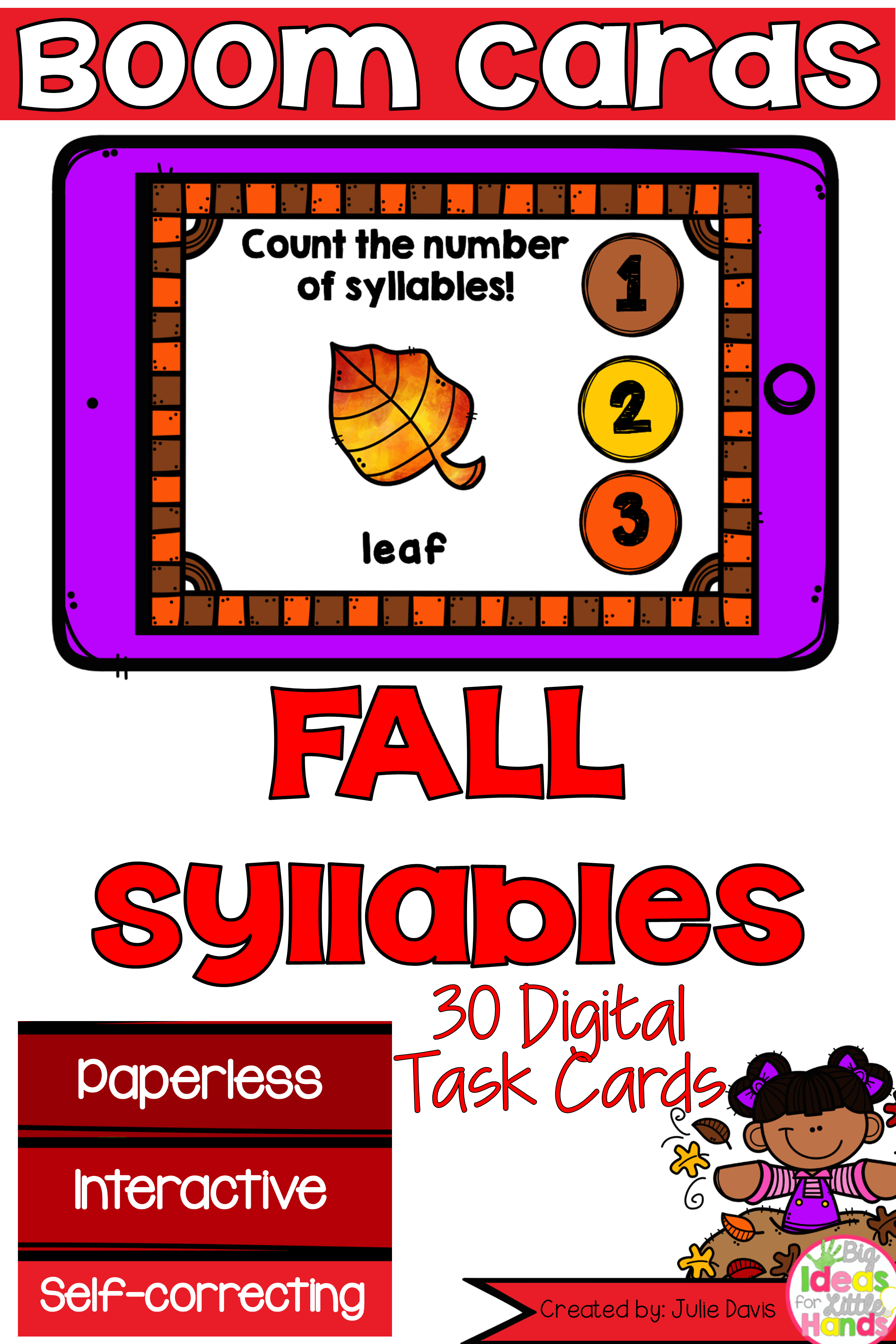 Fall Syllable Counting Digital Game Boom Cards