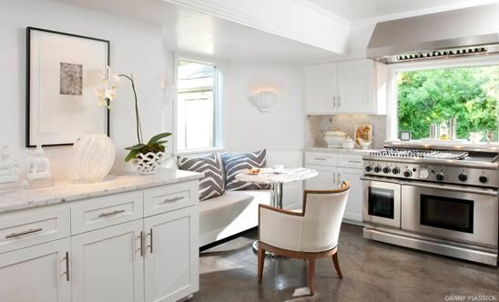 Martensen Jones Interiors - kitchens - zebra pillows, gray zebra pillows, built in banquette, marble top cafe table,  Gorgeous kitchen with ...