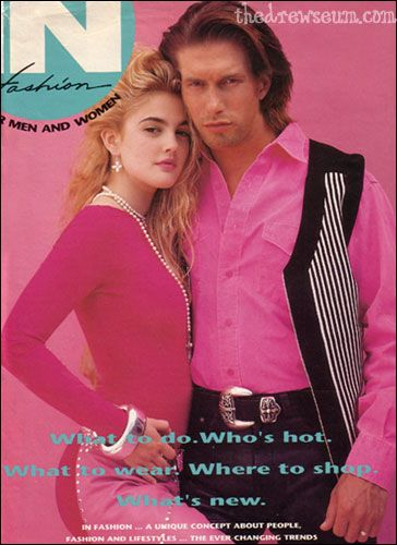 with Stephen Baldwin in In Fashion magazine - September 1991  a Drewseum original scan