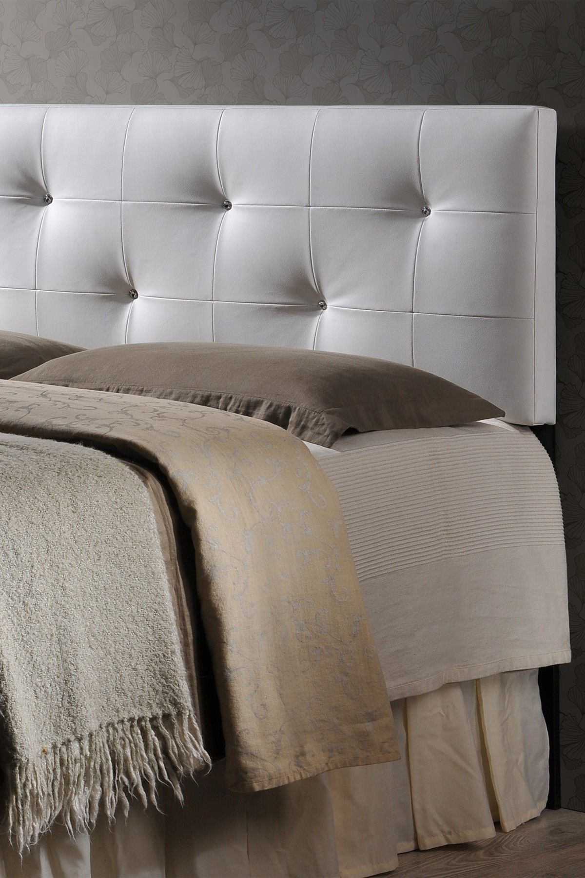 Wholesale Interiors Dalini White Faux Crystal Button Tufted Full ...