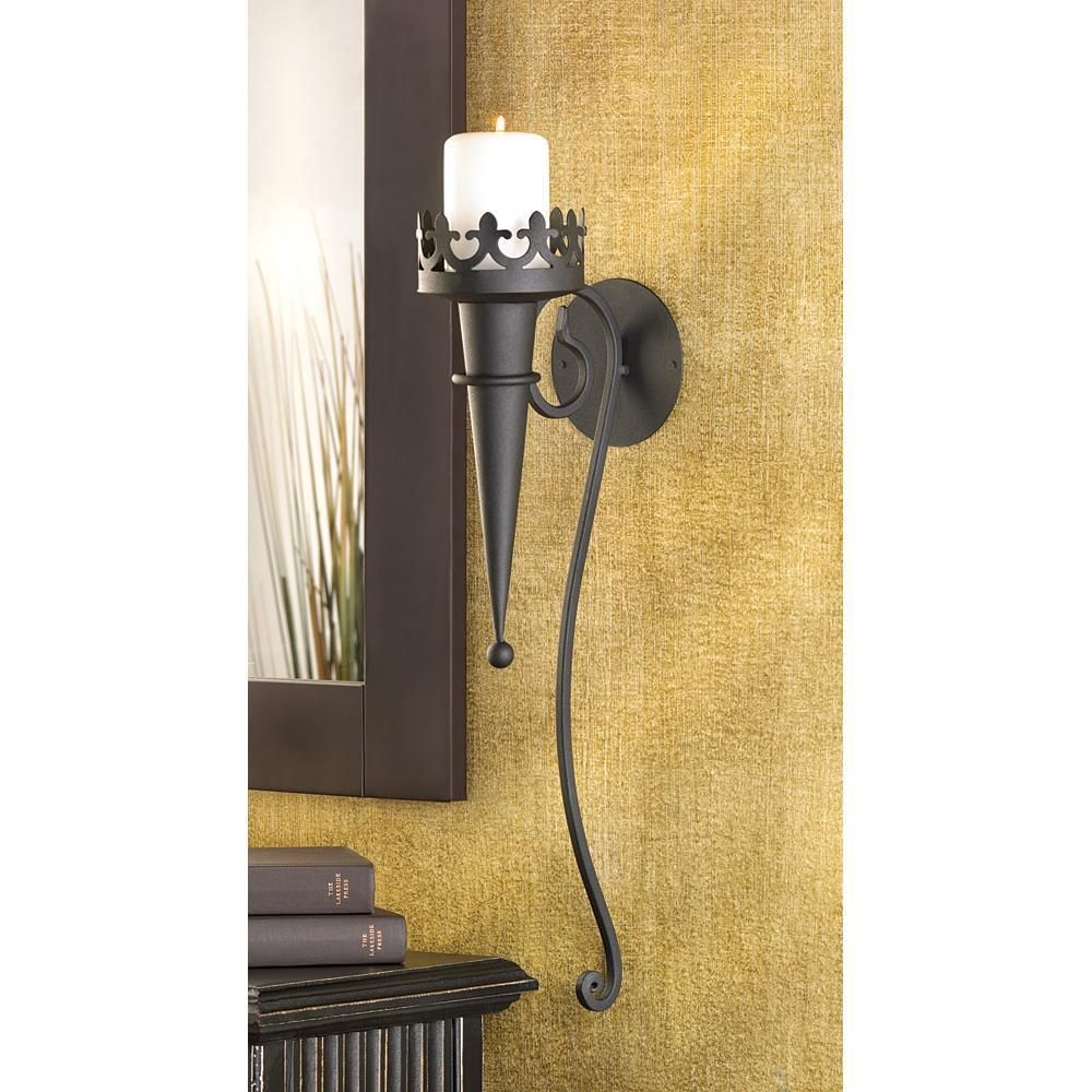 GOTHIC TORCH STYLE MATTE-BLACK PILLAR CANDLE HOLDER WALL SCONCE ...