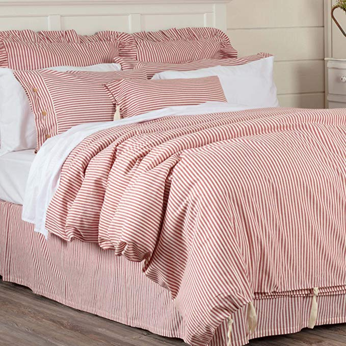 Amazon Com Piper Classics Farmhouse Ticking Stripe Duvet Cover Bedding Red Off White Queen 92x91 Comforter Co Bed Linens Luxury Red Duvet Cover Red Duvet