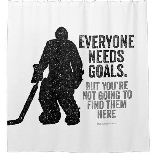 Everyone Needs Goals Hockey Shower Curtain Zazzle Com Hockey