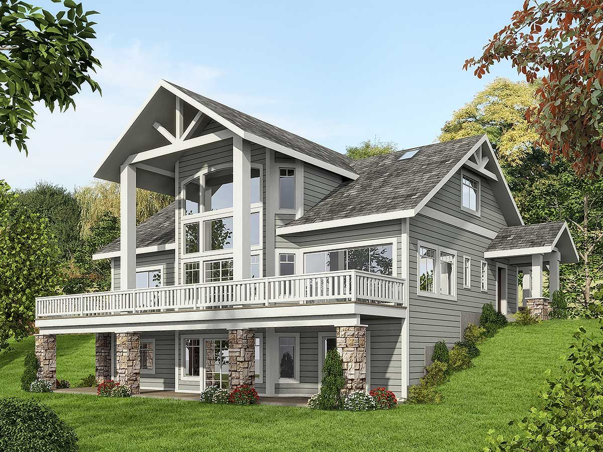 Plan 35516gh mountain house plan with dramatic window for 2 story lake house