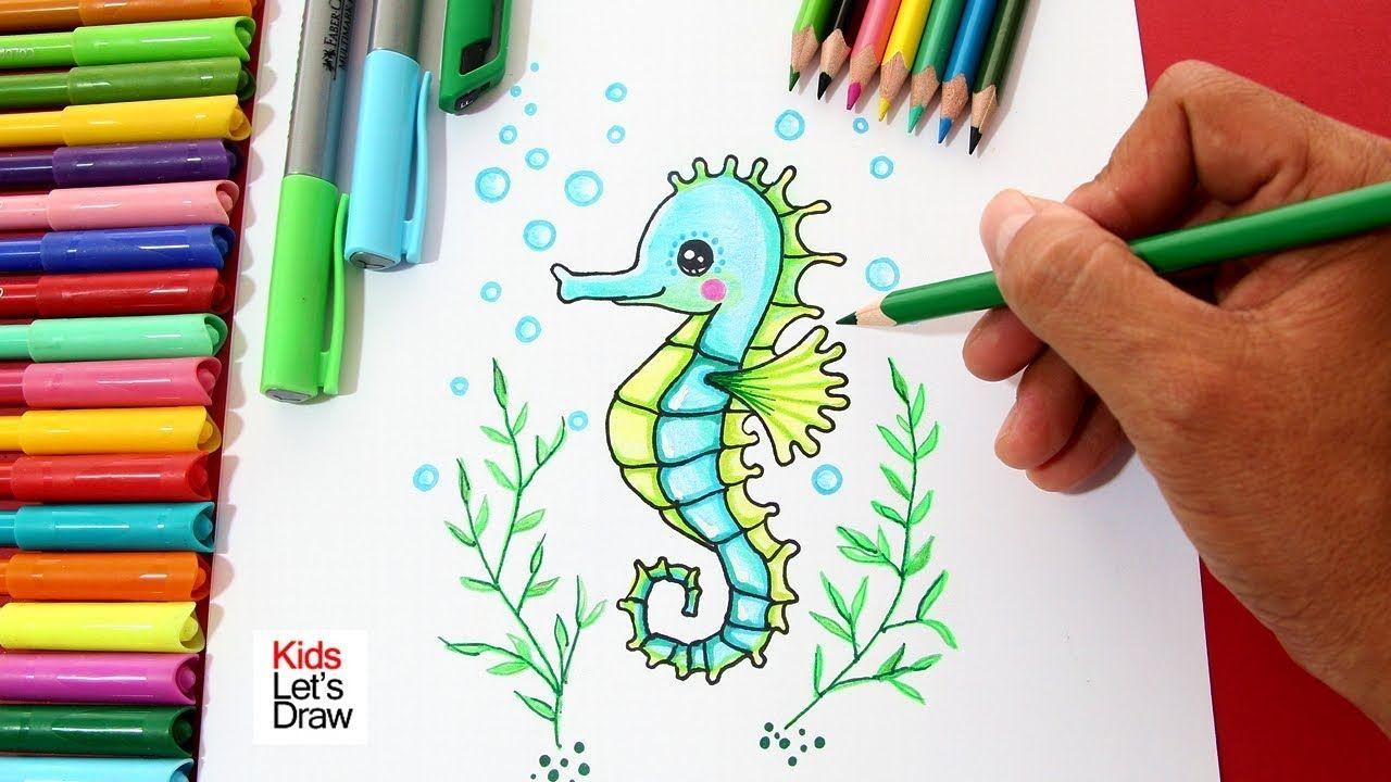Como Dibujar Un Caballito De Mar De Manera Facil How To Draw A Seahorse Caballito De Mar Dibujo Dibujo Del Mar Caballito De Mar