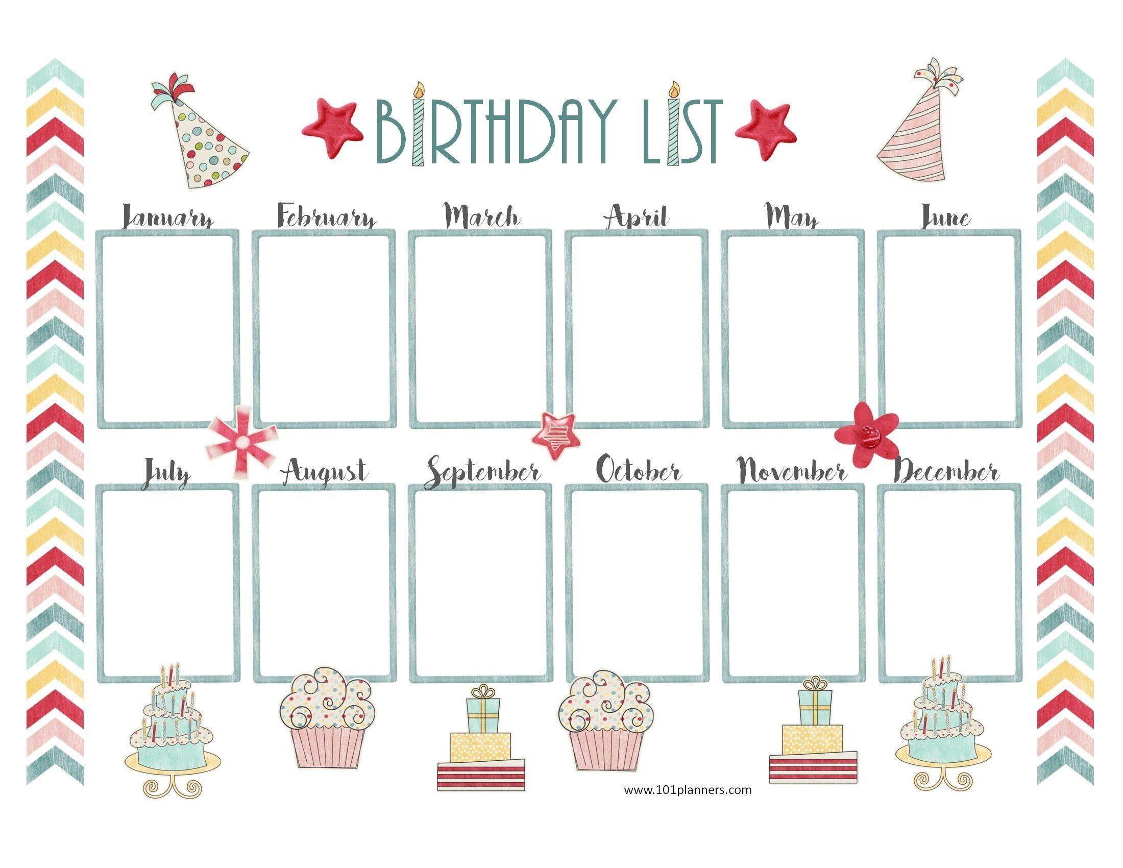 Birthday Calendar Template Free Download Birthday Calendar