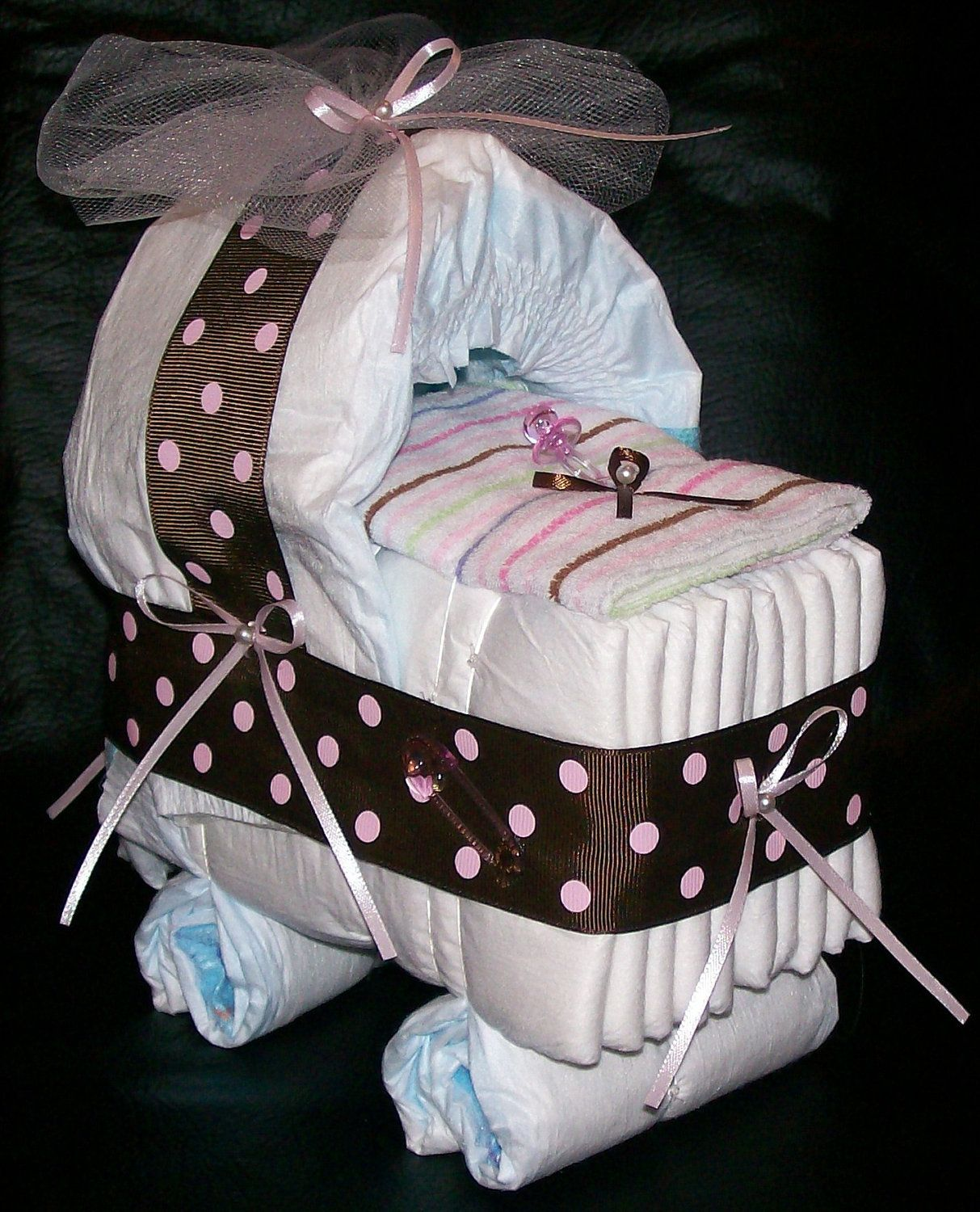 Bassinet Diaper Cake Baby Shower Brown Pink Dot Baby Girl 1250