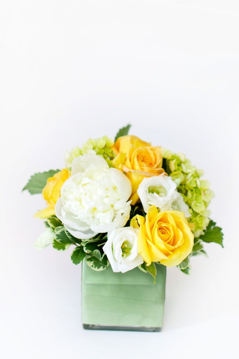 White And Yellow Floral Arrangement From Helen Olivia Flowers For