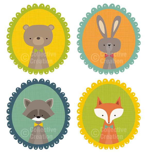 Cute Woodland Animals in Frames Digital Clip Art Clipart Set - Personal and Commercial Use