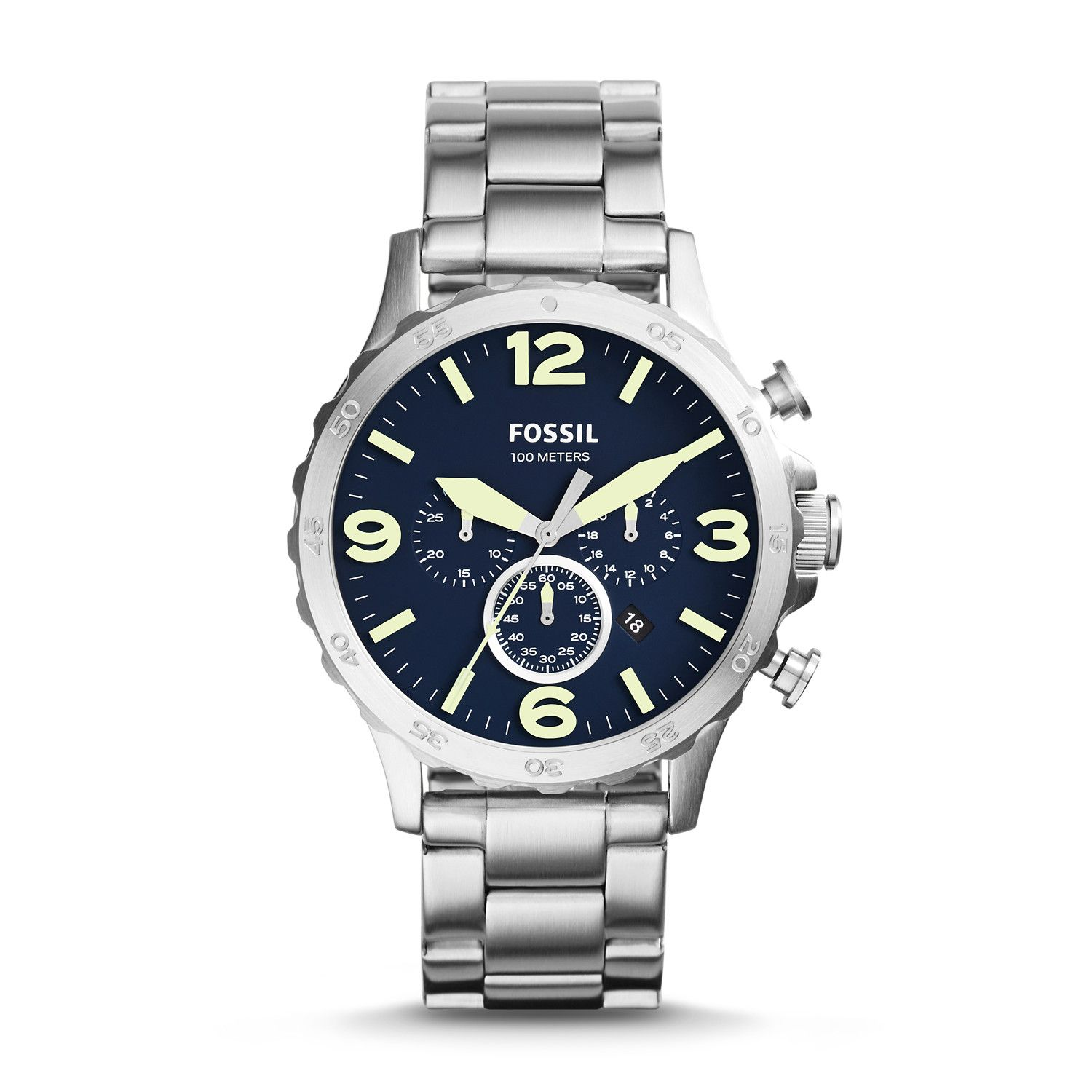 Nate Chronograph Stainless Steel Watch Fossil nate