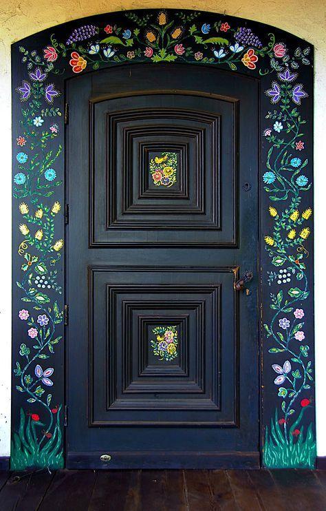 Door with Polish Folk Decoration by Elisabeth Faze