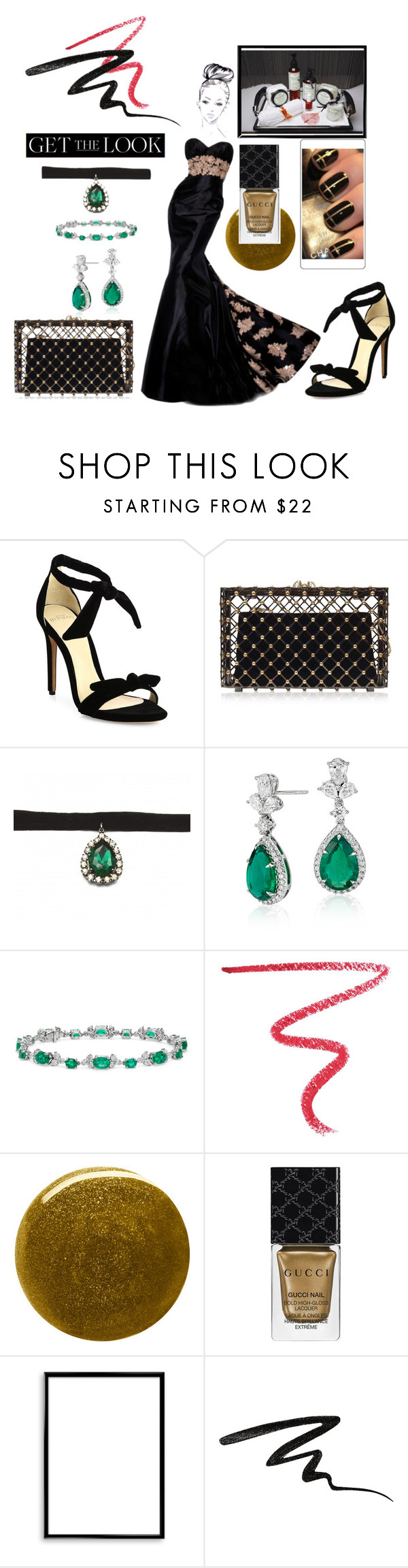 """""""Get the Look: Met Gala 2016  Back in Black"""" by mavinex-de-nova ❤ liked on Polyvore featuring Alexandre Birman, Charlotte Olympia, Zara Taylor, Blue Nile, By Terry, Monday, Burberry, Gucci, Bomedo and Stila"""