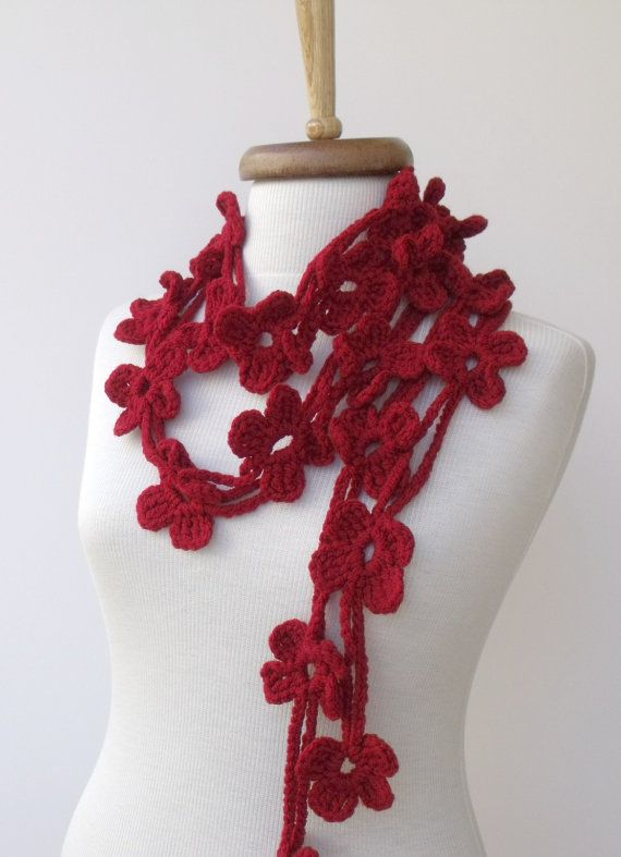 Double Red Bloom ScarfReady for shipping by knittingshop on Etsy, $27.00