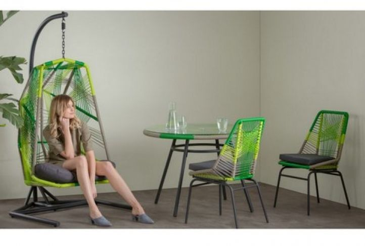 Make A Bold Style Statement In Your Garden With The Graphical Copa Hanging  Chair In Citrus Green.