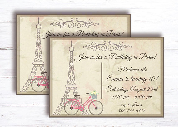 French Tea Party Girl Birthday Printable Invitation Paris Theme Post Card 10 Year Old Di