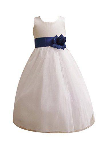 d0d070bdf95 Classykidzshop White Satin Tulle Flower Girl Dress with Royal Blue Sash -  8T Classykidzshop http