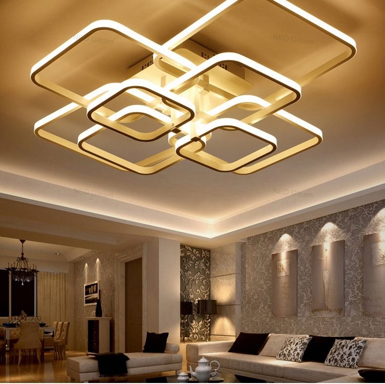 Remote Control Living Room Bedroom Modern Led Ceiling Lamp Modern Simple Square Ring Creati Ceiling Design Living Room Ceiling Lights Modern Led Ceiling Lights