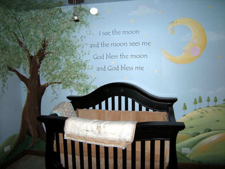 Combines Star/moon Theme Existing In Room With Woodland Images. Nursery  Murals, Wall ...