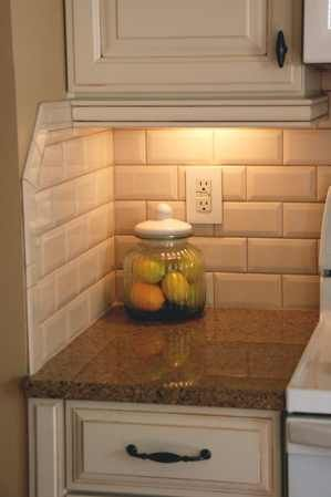 Bisque colored large subway tiles--Faceted! note by PB | Kitchen ...