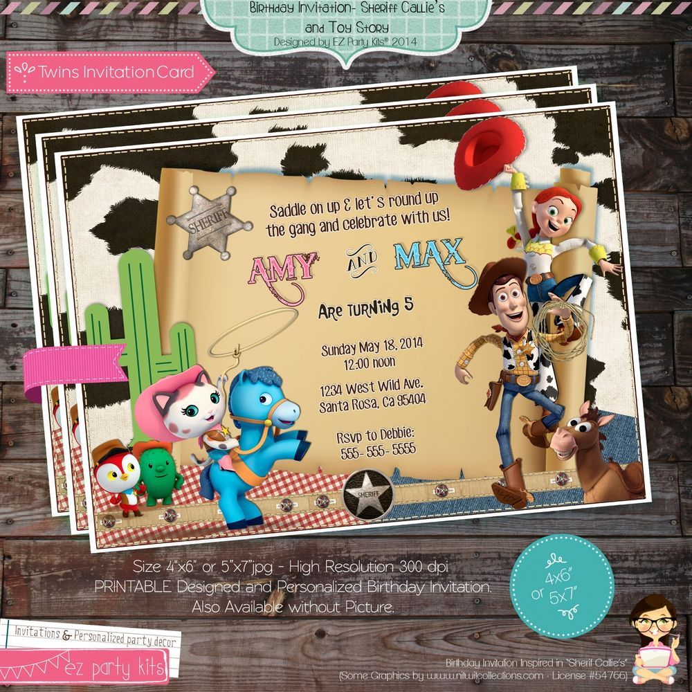sheriff callie and woody twins birthday invitation card