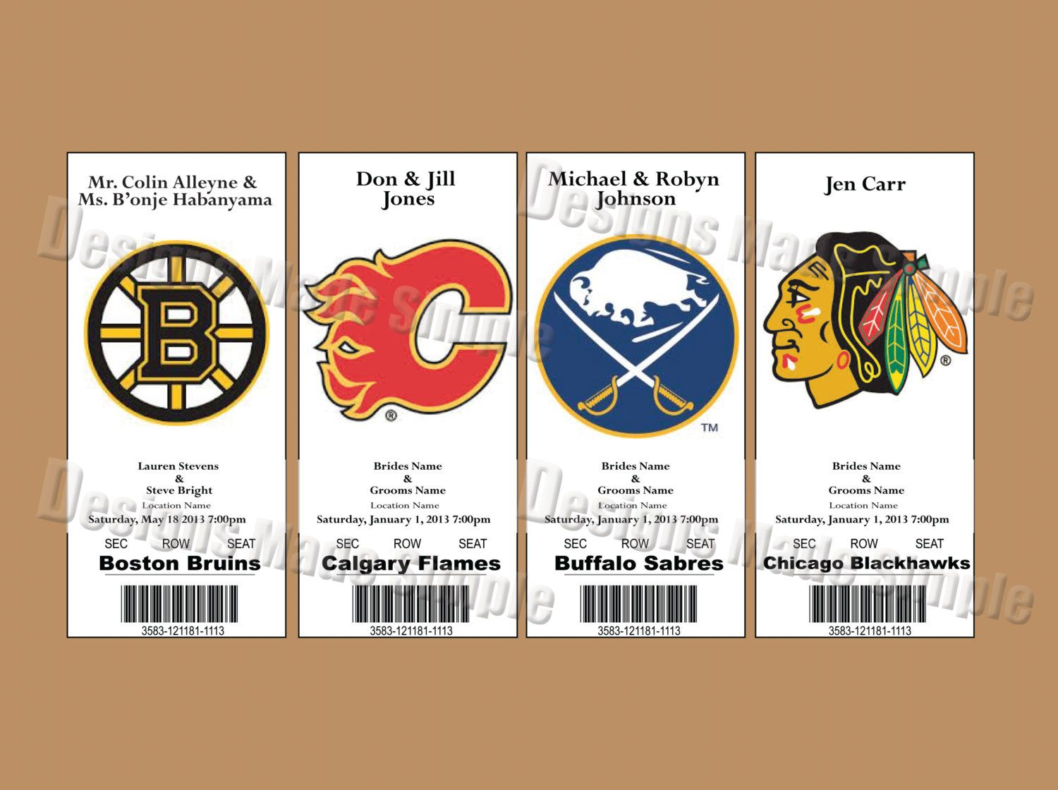 Wedding Place Cards - Hockey Themed Qty 50 | Football, Important ...