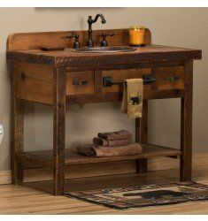 Reclaimed Barn Wood Open Vanity #bathroomvanitydecor
