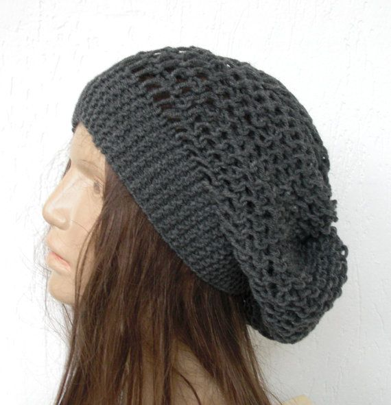 Hand Knit Hat Beehive beret in Charcoal Gray womens hat by Ebruk ...
