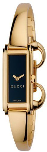 Bold, Gold & Black Miss olive  Gucci Women's G-Line Gold-Plated Black Dial Watch.....want this