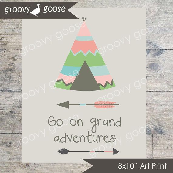 Go On Grand Adventures Pink Wall Art / Kids Room by groovygoose
