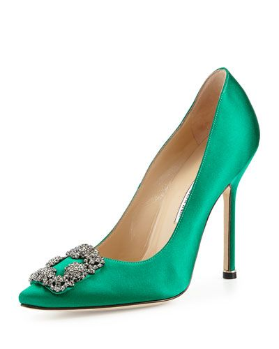 s07l8 manolo blahnik hangisi crystal buckle satin pump green most rh pinterest com