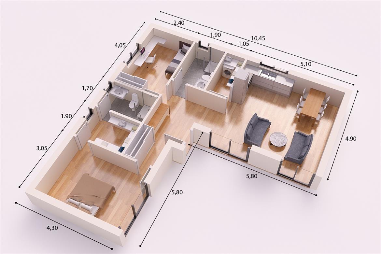 Castellon donacasa 90m2 hormig n celular con trasdosado for Plano casa moderna 90m2