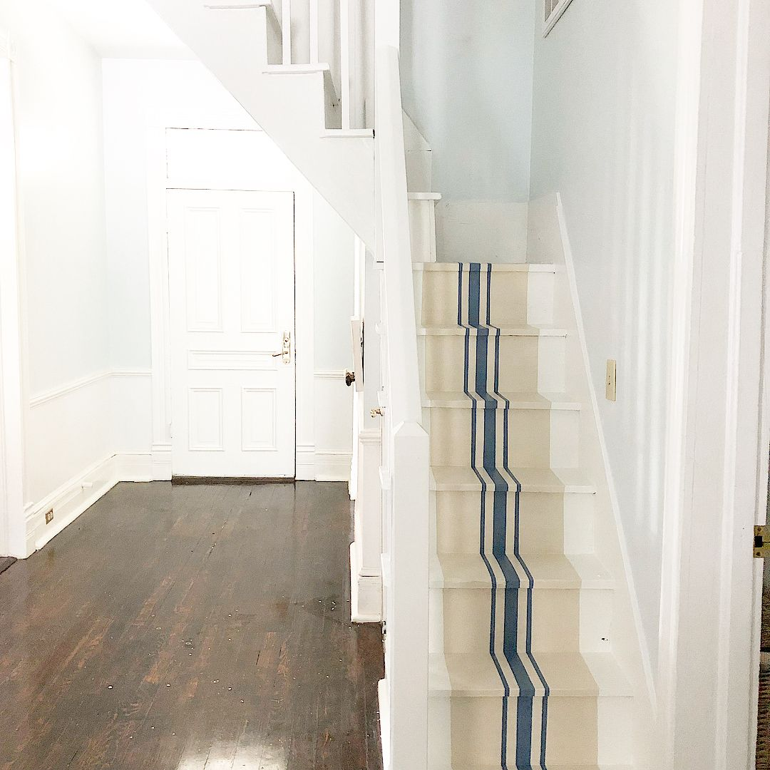 80 Modern Farmhouse Staircase Decor Ideas: Painted Stairs Farmhouse Style
