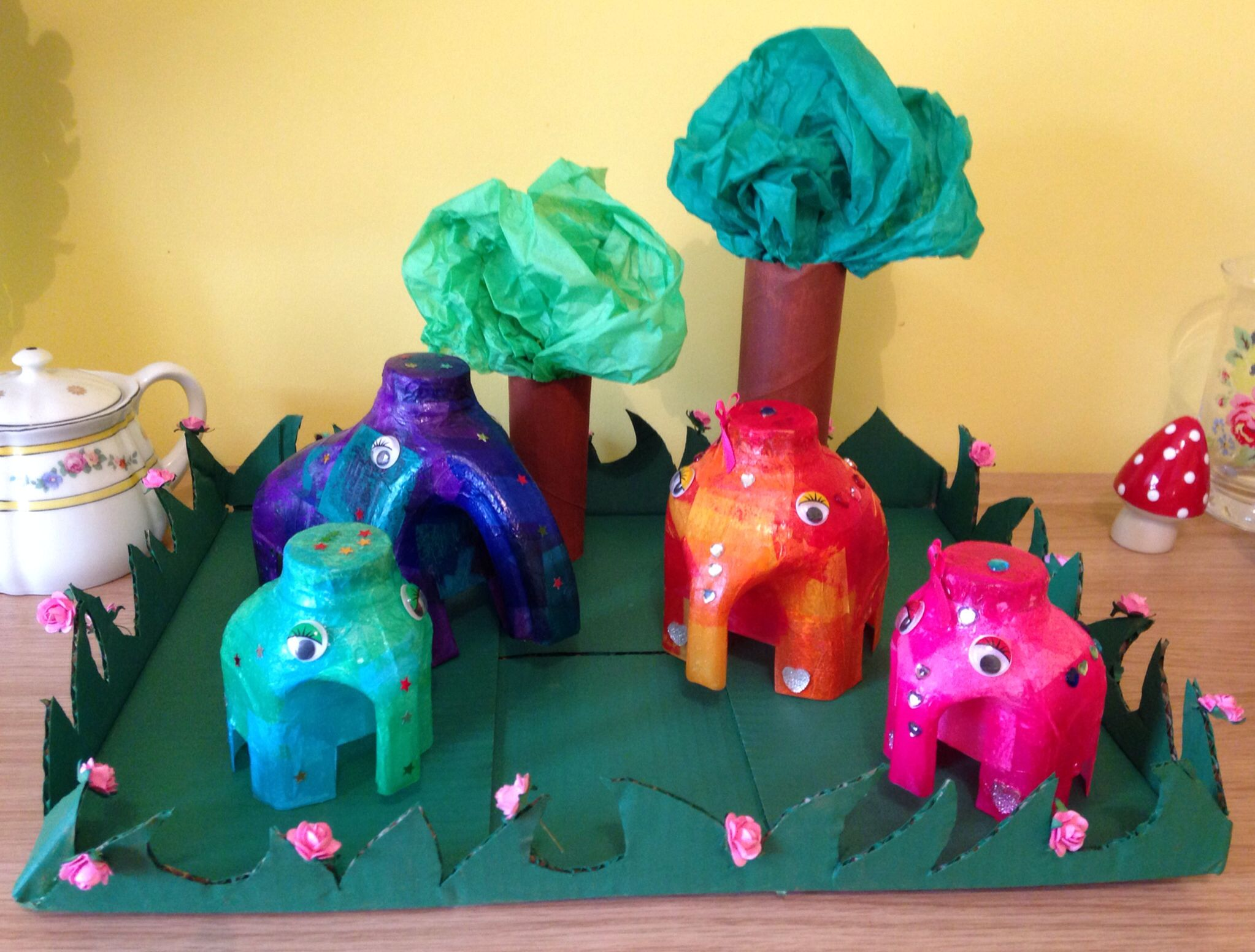 Kids Crafts Elephant Family Made From Recycled Milk Bottles