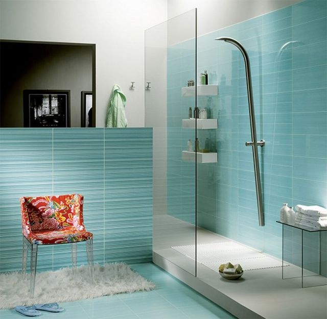 Uberlegen Ideen Für Badezimmerfliesen Blau  Streifen Begehbare Dusche Mit Glas Abtrennung