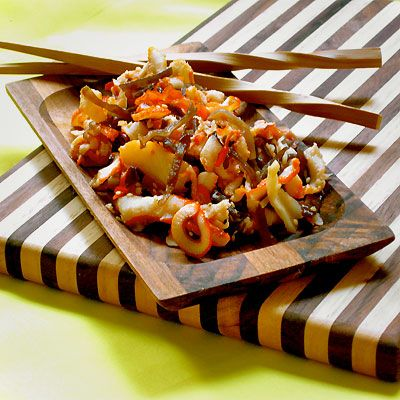 spicy squid salad with shiitake sesame amp lime recipe