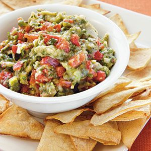Roasted Garlic, Poblano, and Red Pepper Guacamole with Homemade Tortilla Chips   CookingLight.com #glutenfree