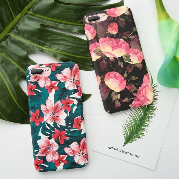 Phone Case For IPhone X 8 7 Plus 6 6s Retro Flamingo Cartoon Flower Pattern