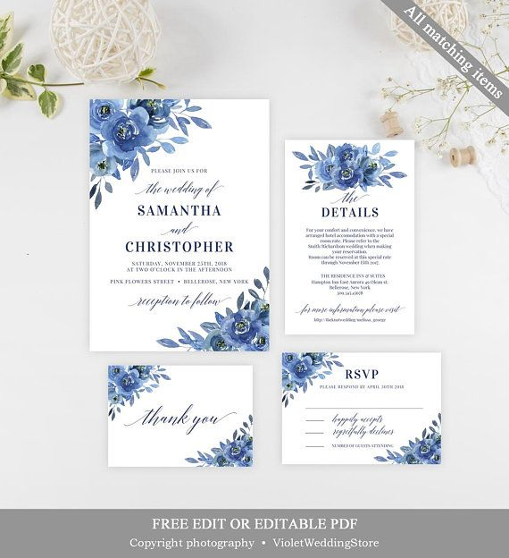 Printable Wedding Invitation Sets: Navy Floral Wedding Invitation Set, Printable Blue Flowers